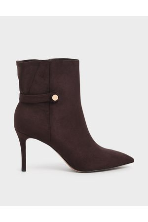 CHARLES & KEITH Women Ankle Boots - Textured Stiletto Heel Ankle Boots