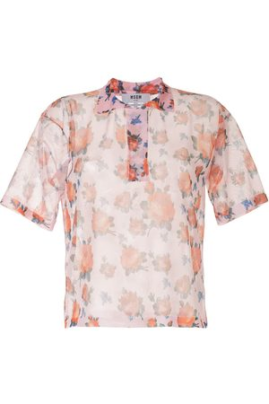 Msgm Rose print sheer shirt - Multicolour