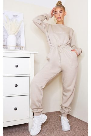 PRETTYLITTLETHING Women Jumpsuits - Stone Embroidered Sweat Jumpsuit