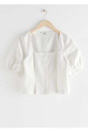 & OTHER STORIES Square Neck Puff Sleeve Twill Top