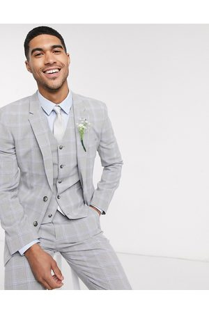 ASOS Wedding skinny suit jacket in blue and windowpane check