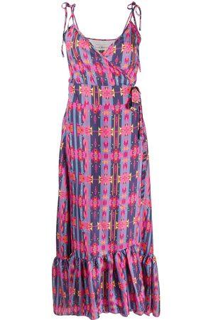 JESSIE WESTERN Women Printed Dresses - Flounced geometric print silk dress