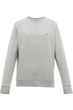 Maison Kitsuné Fox-appliqué Cotton-jersey Sweatshirt - Mens - Grey