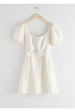 & OTHER STORIES Linen Puff Sleeve Mini Dress