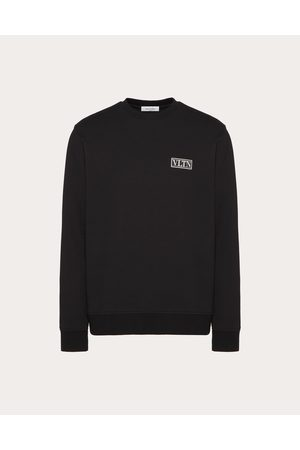 VALENTINO Men Sweatshirts - Vltn Tag Crew-neck Sweatshirt Man Cotton 71%, Polyester 29% M