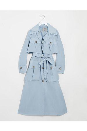ASOS Layered utility taffeta trench coat in baby