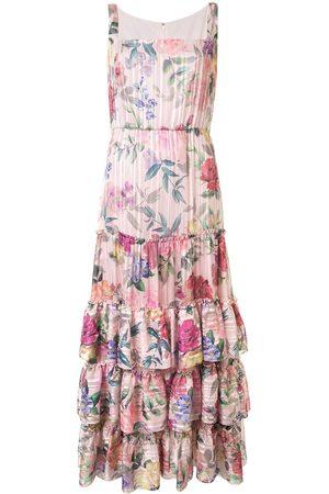 Marchesa Notte Floral print ruffled dress - Multicolour