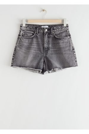 & OTHER STORIES High Rise Cut Off Jeans Shorts - Grey