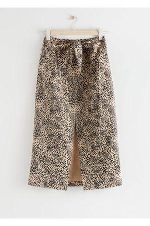 & OTHER STORIES Front Tie Linen Blend Midi Skirt