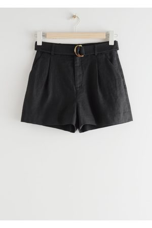 & OTHER STORIES Belted Linen Pleat Shorts