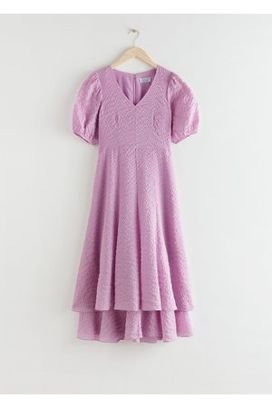 & OTHER STORIES Puff Sleeve Double Layer Midi Dress