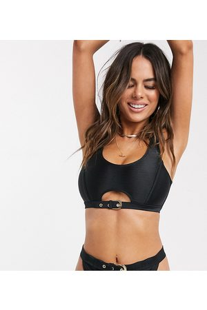 Wolf & Whistle Fuller Bust Exclusive cut out crop bikini top with belt detail in