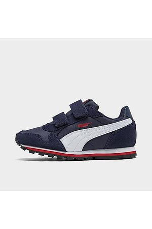Puma Boys' Little Kids' ST Runner Hook-and-Loop Casual Shoes in /Peacoat Size 3.0 Nylon/Suede