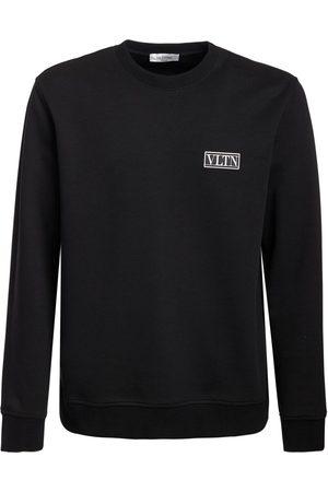 VALENTINO Logo Patch Cotton Blend Sweatshirt