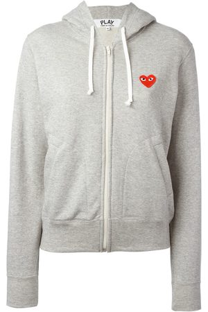 Comme des Garçons Women Hoodies - Embroidered logo hoodie - Grey