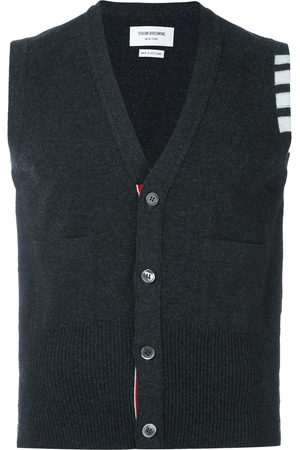 Thom Browne 4-Bar Cashmere Cardigan Vest - Grey