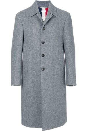 Thom Browne Center-Back Stripe Unconstructed Relaxed Fit Bal Collar Overcoat - Grey