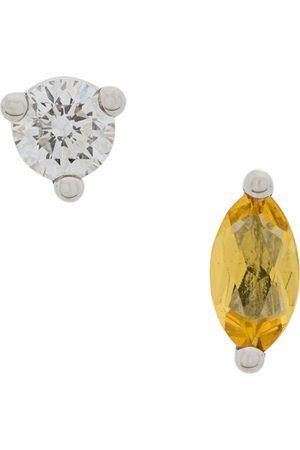 DELFINA DELETTREZ 18kt white Dots Solitaire yellow beryllium and diamond earrings - Metallic