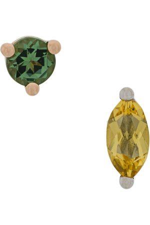 DELFINA DELETTREZ 18kt Dots Solitaire yellow beryllium and green tourmaline earrings - Metallic