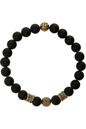 Nialaya Men Bracelets - Engraved bead bracelet