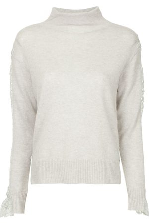 Onefifteen Women Sweaters - Lace panel sweater - Grey