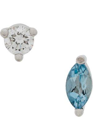 DELFINA DELETTREZ 18kt white Dots Solitaire aquamarine and diamond earrings - Metallic