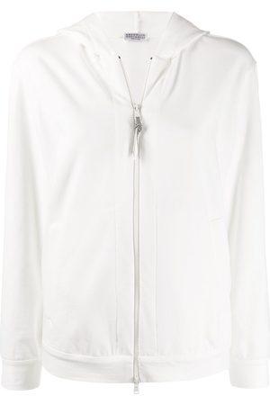 Brunello Cucinelli Brass-embellished zip-up hoodie