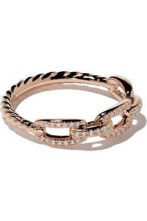 David Yurman Women Bracelets - 18kt rose gold Stax single row pavé diamond chain link ring - 8RADI
