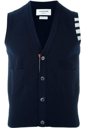 Thom Browne Men Cardigans - Sleeveless buttoned cardigan