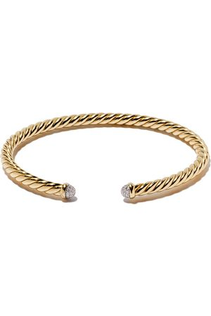 David Yurman 18kt yellow gold Cable Spira diamond cuff bracelet - 88ADI