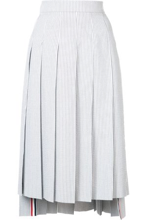 Thom Browne Women Midi Skirts - Seersucker Pleated Skirt - Grey