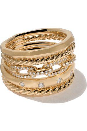 David Yurman 18kt yellow gold Stax diamond wide ring - 88ADI