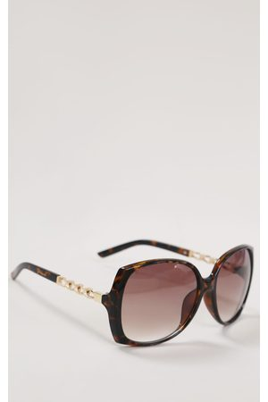 PRETTYLITTLETHING Tort Chain Side Detail Oversized Square Sunglasses