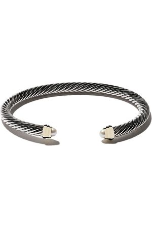 David Yurman Cable kids birthstone sterling silver, 14kt yellow gold accented and pearl cuff bracelet - S4BPE