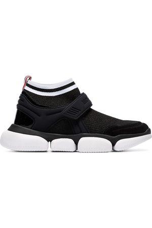 Moncler Women Sneakers - Velcro suede trim sock sneakers