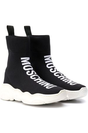 Moschino Intarsia logo hi-top sneakers