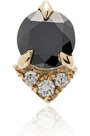 Lizzie Mandler Spike stud black diamond and diamond 18K yellow single earring