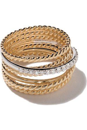 David Yurman 18kt yellow gold Crossover diamond wide ring - 88ADI