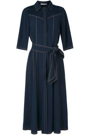 MARTHA MEDEIROS Stitching midi shirt dress