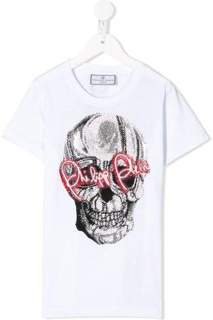 Philipp Plein Junior Embellished skull print T-shirt