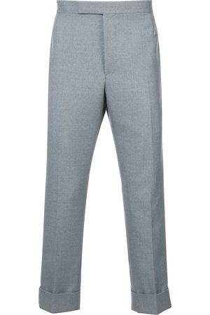 Thom Browne Men Formal Pants - Classic Backstrap Trouser With Red, White And Blue Selvedge In School Uniform Twill - Grey