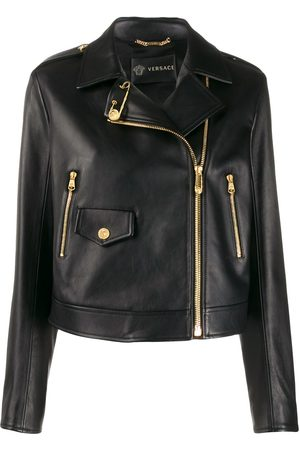 VERSACE Cropped safety-pin biker jacket