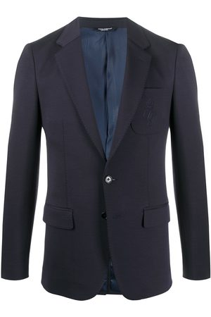 Dolce & Gabbana Single-breasted embroidered-logo blazer
