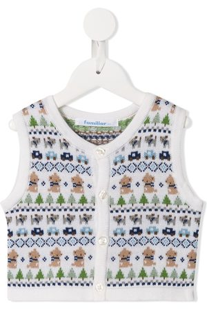Familiar Tank Tops - Sleeveless knitted patterned cardigan - Multicolour