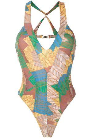 AMIR SLAMA Metallic stitching swimsuit - Multicolour