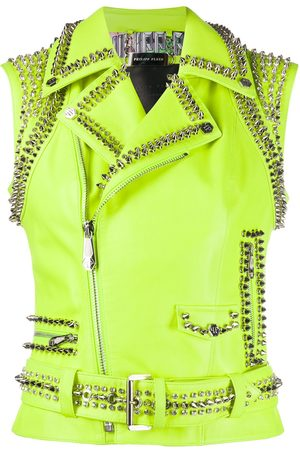Philipp Plein Leather crop biker jacket