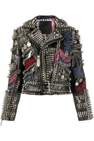 Philipp Plein Leather spiked biker jacket