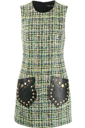VERSACE Medusa tweed sleeveless mini dress