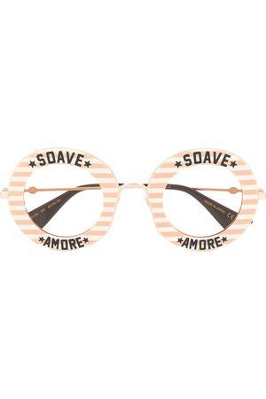 Gucci Stripe detail round frame sunglasses - Metallic