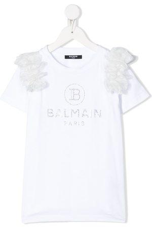 Balmain Short sleeve crystal-embellished logo T-shirt